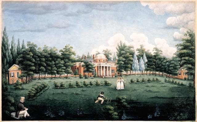<p>Monticello and Garden by Jane Pitford Braddick Peticolas, 1825 (Thomas Jefferson Foundation)>