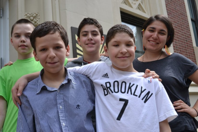 <p>Students at Mary McDowell Friends School in Brooklyn, New York>