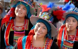 Bolivian dancers, Columbia Pike Festival, Arlington, Virginia. PHOTO BY LLOYD WOLF.
