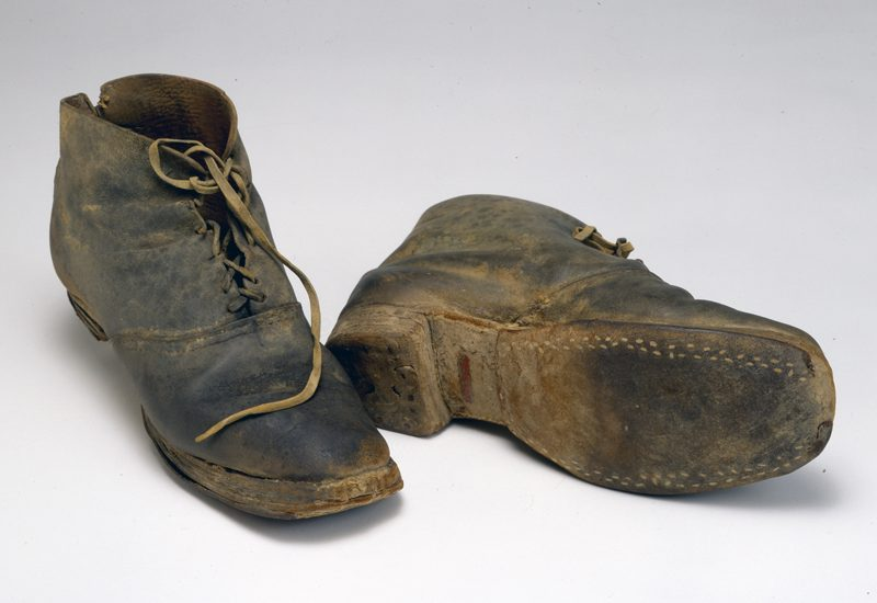 <p>Brogan-style shoes worn by private Page Lapham of 2nd Company,<br /> Washington Artillery of New Orleans.<br /> COURTESY OF THE MUSEUM OF THE CONFEDERACY>