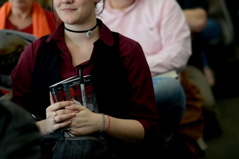 <p>An attendee at a fantasy and science fiction panel in 2013. Photo by Pat Jarrett.>