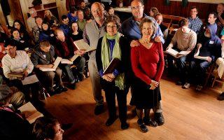 <p>Virginia Folklife master and apprentice shape note singers. Photo by Pat Jarrett.</p>