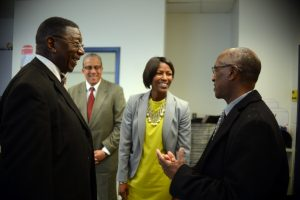 Pictured (left to right): Dr. Alfred Taylor, Lacy Ward Jr, Kimberley Graves, Michael Jones - Photo by Pat Jarrett