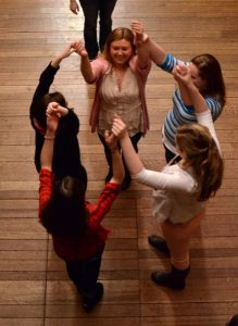 Little Academe from Indiana Wesleyan participants learn Elizabethan Dance. Photo by Pat Jarrett.