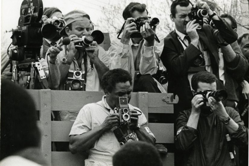 African American photojournalist Ernest Withers at the King Memorial March in Memphis 1968 - Photo by Jack Hurley, Courtesy Univ Memphis Special Collections