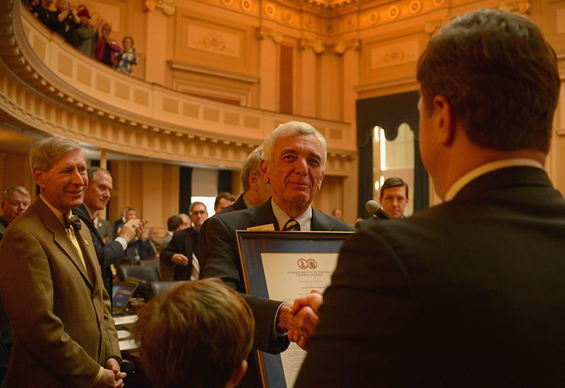Retiring VFH President Robert C. Vaughan is honored at the Virginia General Assembly. - Photo by Pat Jarrett/VFH