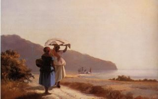 "Camille Pissarro, ""Women Chatting by the Sea,"" 1856"