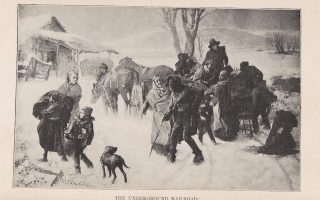 <em>The Underground Railroad: Levi Coffin Receiving a Company of Fugitives in the Outskirts of Cincinnati, Ohio, </em> Citation: Special Collections, University of Virginia, Charlottesville, Va.