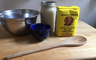 Ingredients for making hot water cornbread.
