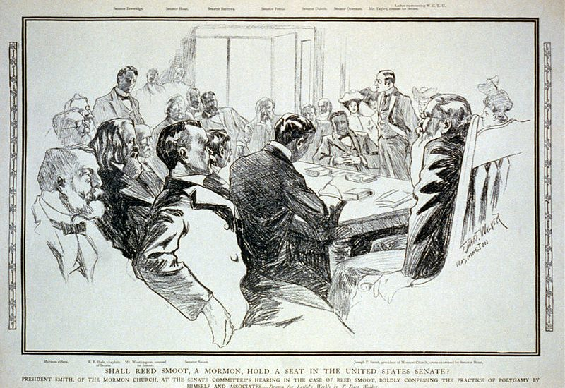 Illustration of Joseph F. Smith giving testimony during the Reed Smoot hearings.