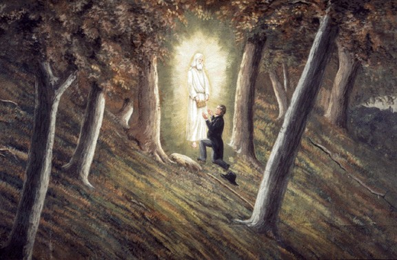 Joseph Smith receiving golden plates from the angel Moroni at the Hill Cumorah - Public Domain, By C. C. A. Christensen