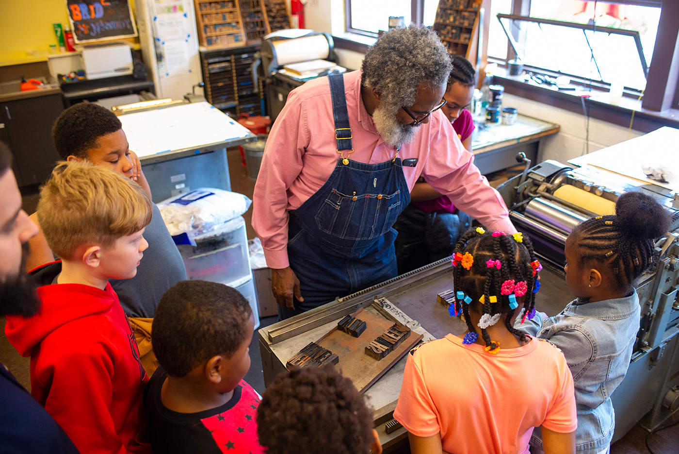 Detroit-based printmaker Amos Paul Kennedy Jr. made prints with The Boys and Girls Club of Central Virginia at the Virginia Art of the Book Center at the Jefferson School in Charlottesville on Friday, 3/15/19 as part of his Frank Riccio artist residency.