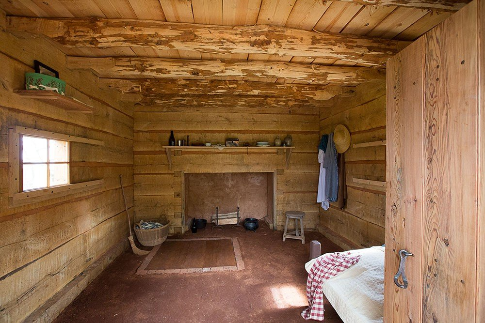 Interior of the recreated Sally Hemings cabin